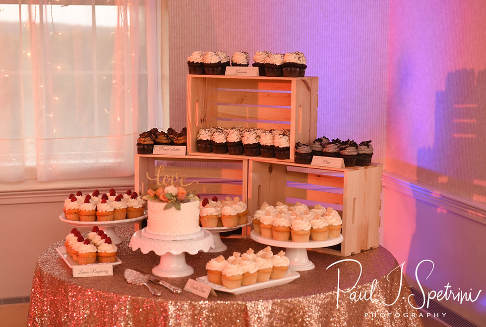 A look at the dessert table during Patrick & Courtney''s September 2018 wedding reception at Valley Country Club in Warwick, Rhode Island.