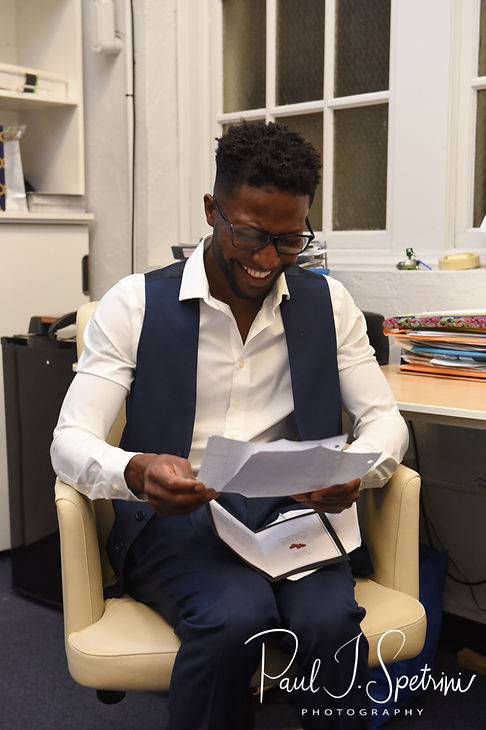 Richardson reads a note written by Courtnie prior to his August 2018 wedding ceremony at Glad Tidings Church in Quincy, Massachusetts.