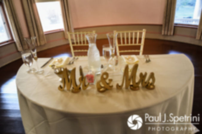 A look at the sweetheart table prior to Allison and Len's September 2017 wedding reception at the Roger Williams Park Casino in Providence, Rhode Island.