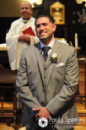 DJ sees Amy for the first time during his June 2016 wedding ceremony at St. Thomas More Church in Narragansett, Rhode Island.