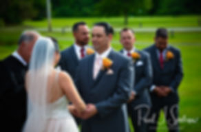 Jacob looks at Stephanie during his June 2018 wedding ceremony at Foster Country Club in Foster, Rhode Island.
