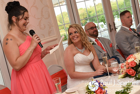 Michelle's maid of honor gives a speech during her May 2016 wedding at Hillside Country Club in Rehoboth, Massachusetts.