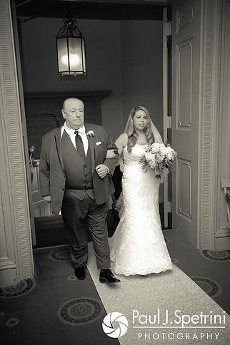 Amy walks down the aisle during her November 2017 wedding ceremony at First Unitarian Church of Providence in Providence, Rhode Island.