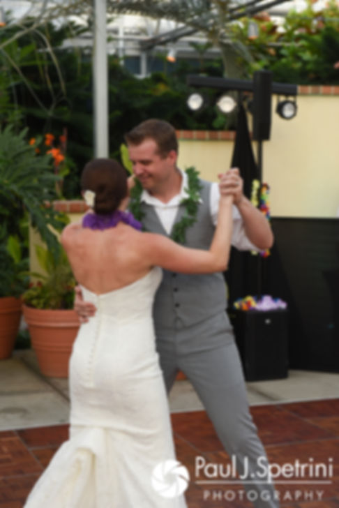Will and Jess share their first dance during their May 2017 wedding reception at the Roger Williams Park Botanical Center in Providence, Rhode Island.