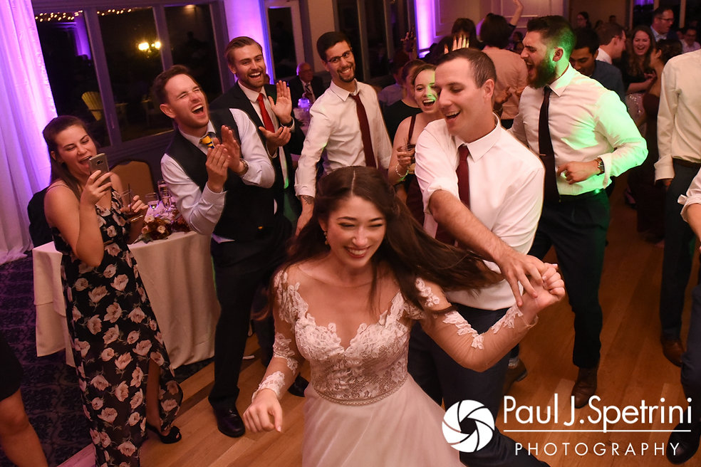 Keiran and Jessica dance during their October 2017 wedding reception at Crystal Lake Golf Club in Mapleville, Rhode Island.