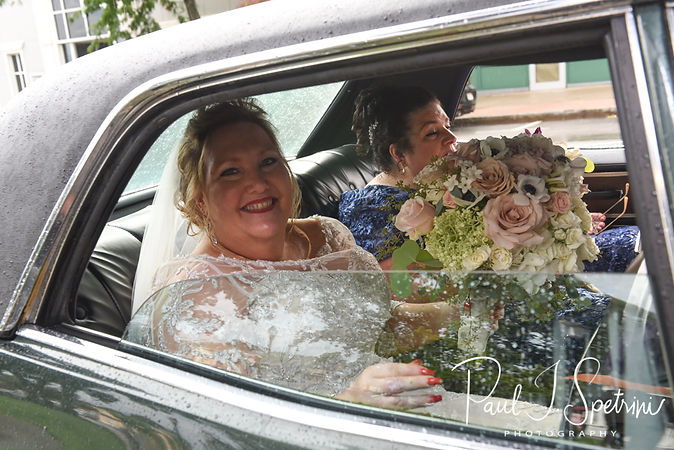 Patti arrives to her wedding and waits in a car prior to her August 2018 wedding ceremony at the Walter J. Dempsey Memorial Bandstand in Norwood, Massachusetts.