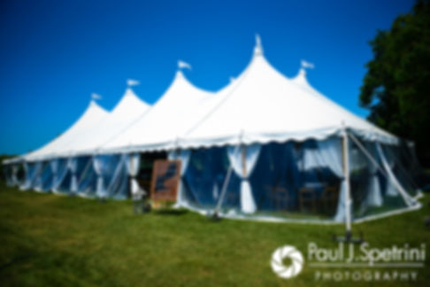 A look at the tent prior to Molly and Tim's June 2017 wedding reception at Farmhouse-By-The-Sea in Matunuck, Rhode Island.