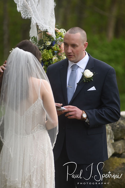 Mike reads his vows during his May 2018 wedding ceremony at Bittersweet Farm in Westport, Massachusetts.
