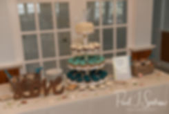 A look at the dessert table during Amber & Justin's June 2018 wedding reception at North Beach Clubhouse in Narragansett, Rhode Island.