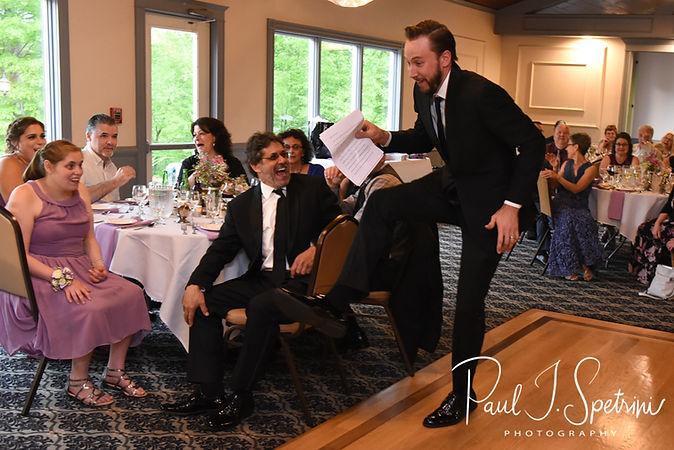 Joe's best man jokingly dances during Kendra & Joe's May 2018 wedding reception at Crystal Lake Golf Club in Mapleville, Rhode Island.