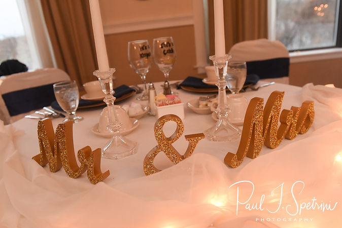 A look at the sweetheart table during Gunnar & Aileen''s December 2018 wedding reception at McGoverns on the Water in Fall River, Massachusetts.