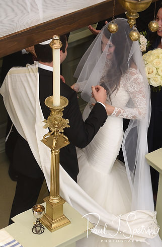 Mike gets ready to take Helen's veil off their September 2018 wedding ceremony at the Touro Synagogue in Newport, Rhode Island.