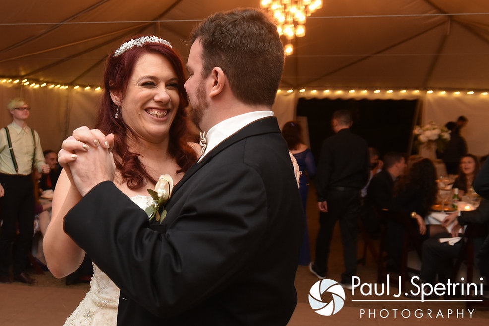 JD and Brooke dance during their October 2016 wedding reception at The Farm at SummitWynds in Jefferson, Massachusetts.