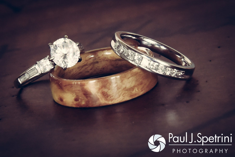 A look at the wedding rings from Heather and John's July 2016 wedding reception at Crystal Lake Golf Club in Burrillville, Rhode Island.