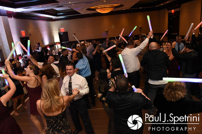 Guests dance during Dallas and Nicky's September 2017 wedding reception at the Crowne Plaza Hotel in Warwick, Rhode Island.