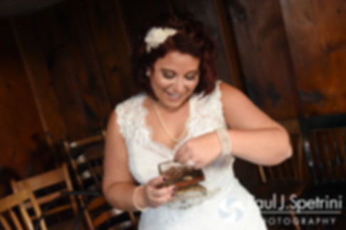 Crystal opens a gift prior to her November 2016 wedding ceremony at the Salem Cross Inn in West Brookfield, Massachusetts.