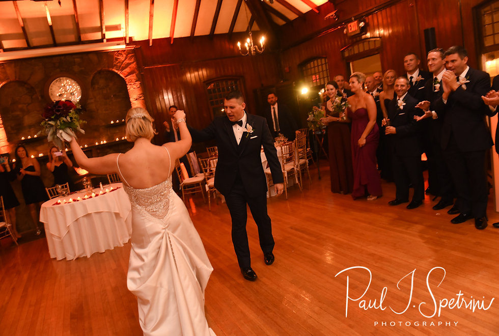 Meghan & Brian dance during their September 2018 wedding reception at Squantum Association in Riverside, Rhode Island.
