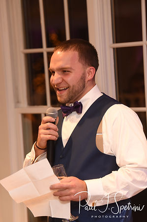 The best man gives a toast during Stacey & Mack's December 2018 wedding reception at Independence Harbor in Assonet, Massachusetts.