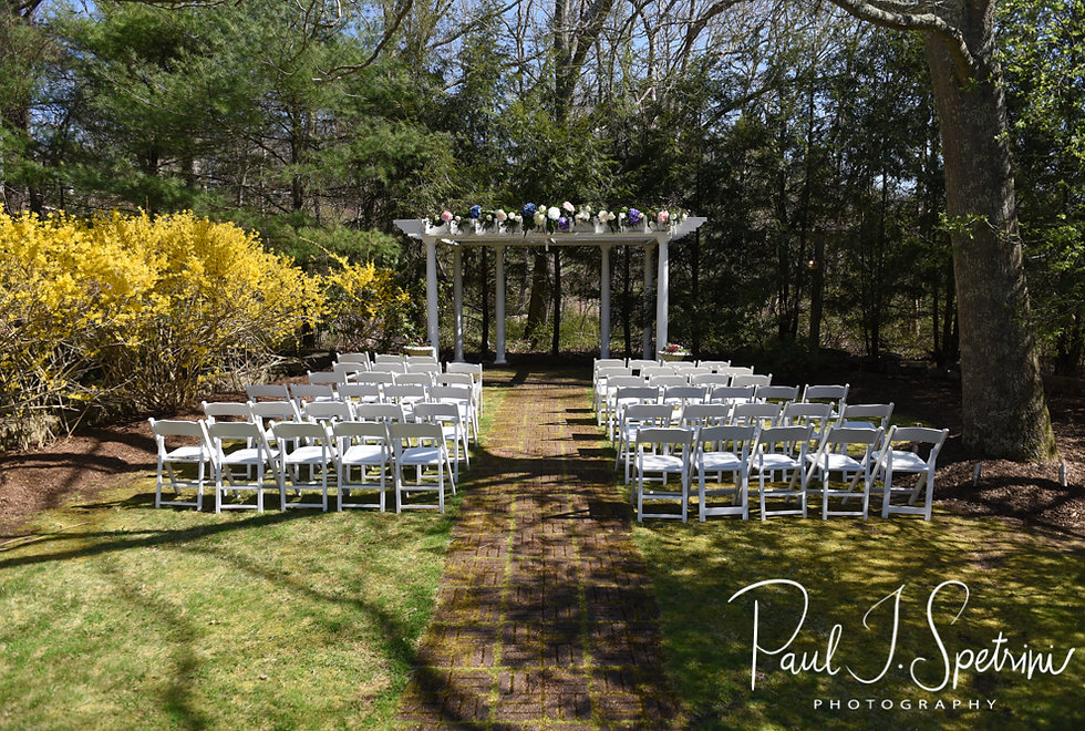 A look at the ceremony site prior to Nate & Kaytii's May 2018 wedding at Meadowbrook Inn in Charlestown, Rhode Island.