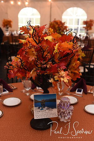 A look at the centerpieces prior to Rich & Makayla's October 2018 wedding wedding reception at Zukas Hilltop Barn in Spencer, Massachusetts.