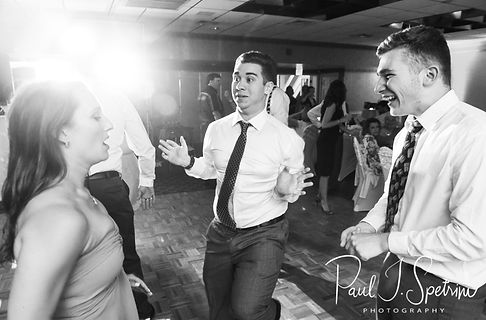Guests dance during Robin & Rick's August 2018 wedding reception at Twelve Acres in Smithfield, Rhode Island.