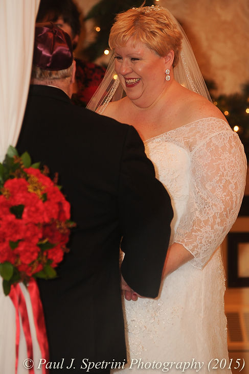 Cathy's smiles during her and Ron's December 2015 Rhode Island wedding at Quidnessett Country Club in North Kingstown, RI.