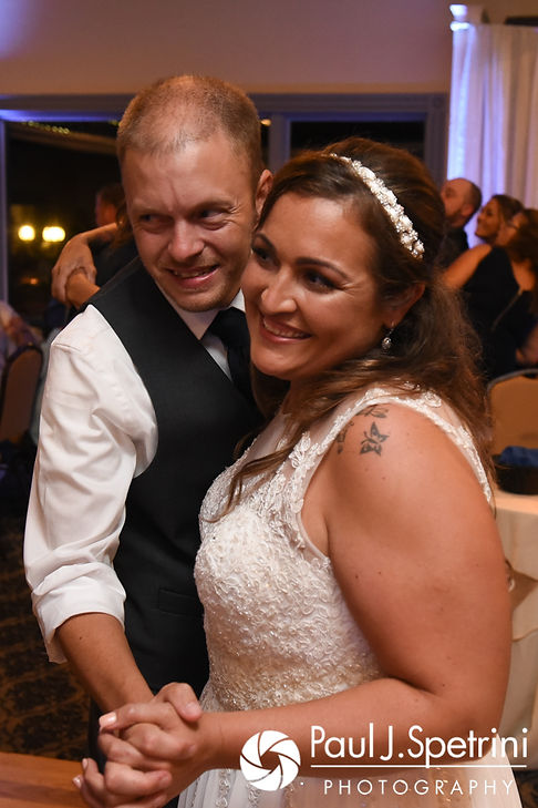 Toni and Scott dance during their August 2017 wedding reception at Crystal Lake Golf Club in Mapleville, Rhode Island.