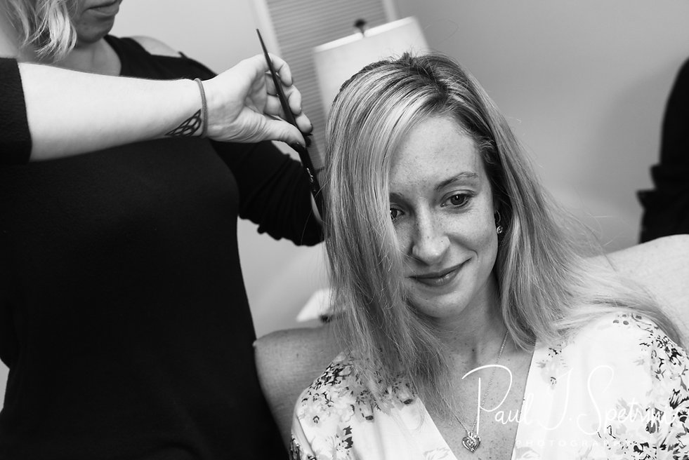 Nicole has her hair done during her bridal prep session at the Publick House Historic Inn in Sturbridge, Massachusetts.