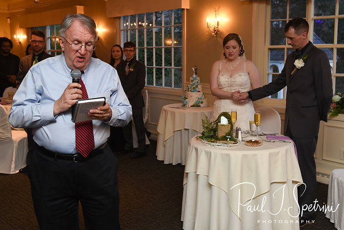 Friends and family members give toasts during Nate & Kaytii's May 2018 wedding reception at Meadowbrook Inn in Charlestown, Rhode Island.
