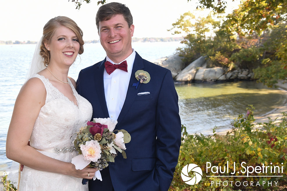 Rachel and Mike pose for a photo prior to their October 2017 wedding ceremony at Castle Manor Inn in Gloucester, Massachusetts.