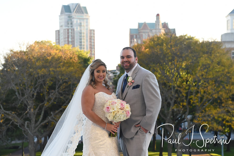 Sarah & Anthony pose for a formal photo at the Rhode Island Statehouse prior to their October 2018 wedding reception at The Omni Hotel in Providence, Rhode Island.