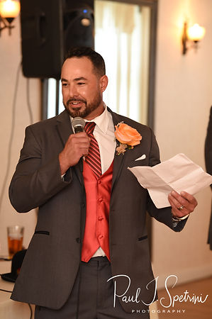 Jacob's best man gives a toast during Jacob & Stephanie's June 2018 wedding reception at Foster Country Club in Foster, Rhode Island.