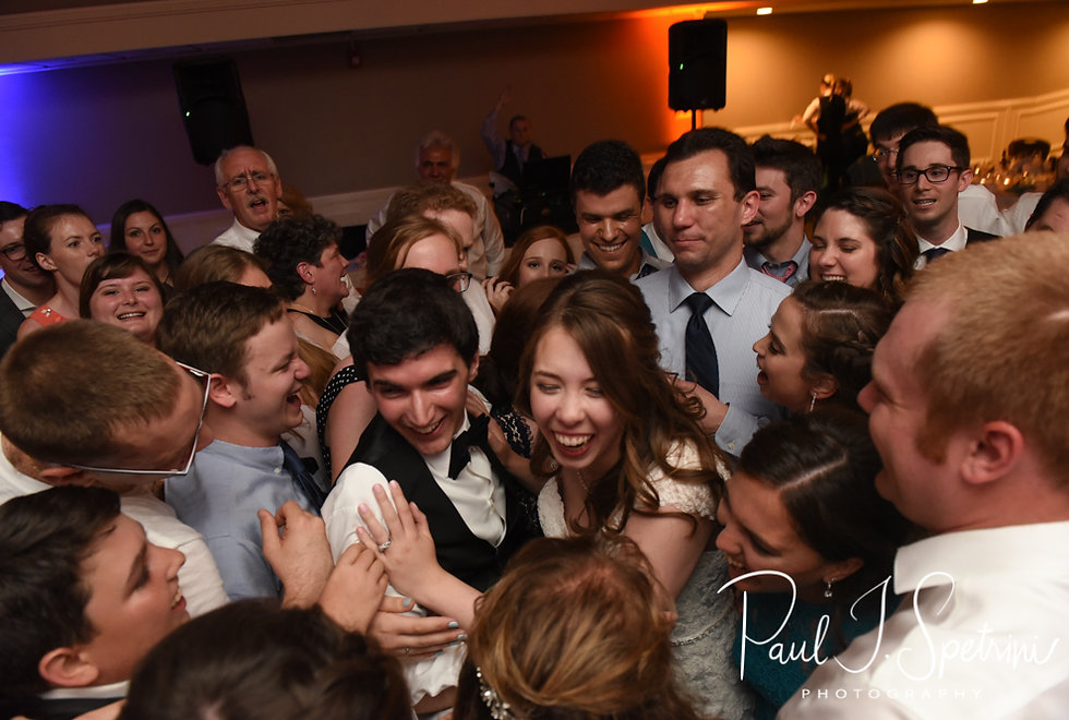 Brian & Sarah celebrate with guests during their June 2018 wedding reception at Pleasant Valley Country Club in Sutton, Massachusetts.
