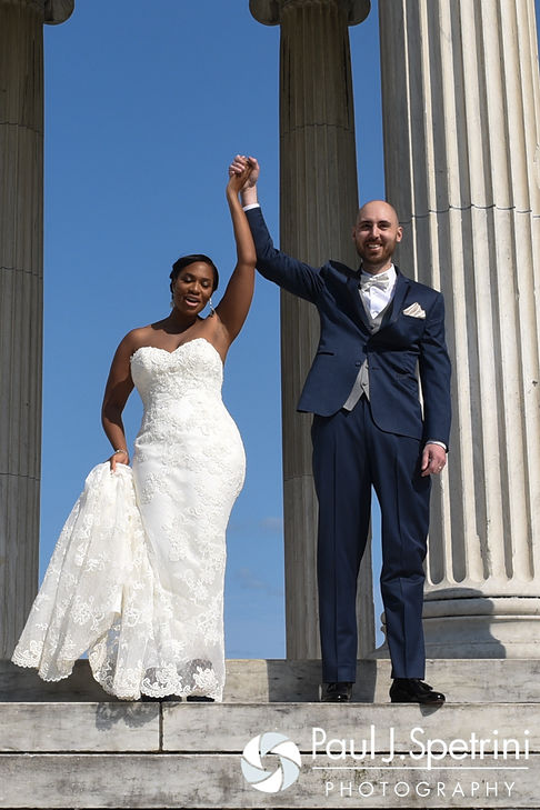 Jennifer and Mark celebrate their marriage during their September 2016 wedding at the Roger Williams Park Temple of Music in Providence, Rhode Island.