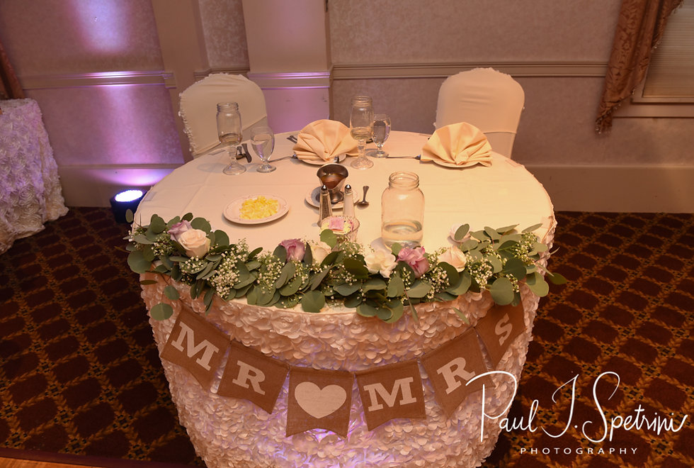 A look at the sweetheart table prior to Robin & Rick's August 2018 wedding reception at Twelve Acres in Smithfield, Rhode Island.