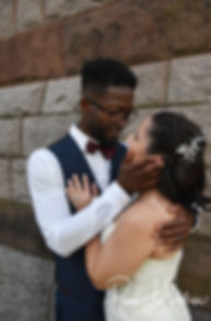 Courtnie and Richardson pose for a formal photo following their August 2018 wedding ceremony at Glad Tidings Church in Quincy, Massachusetts.