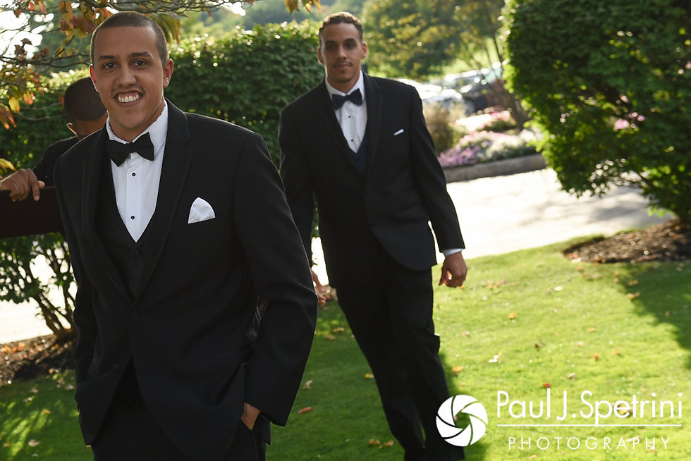 Arten and his groomsmen walk into his September 2017 wedding ceremony at Wannamoisett Country Club in Rumford, Rhode Island.