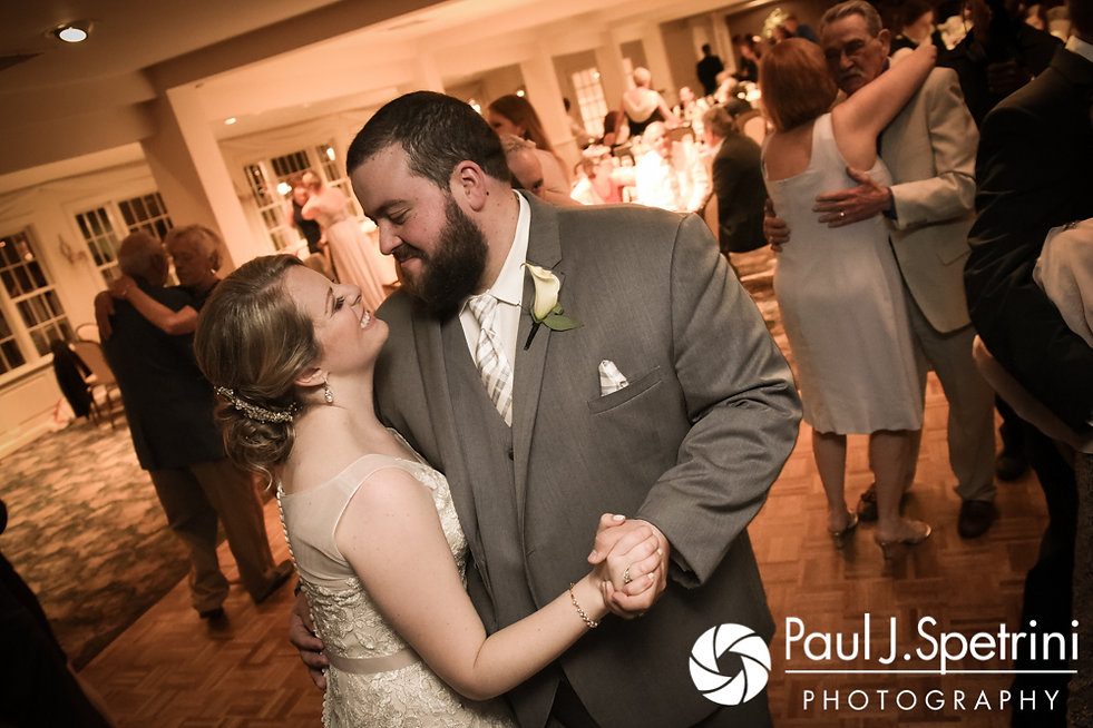Melissa and Jordan dance during their May 2017 wedding reception at Independence Harbor in Assonet, Massachusetts.