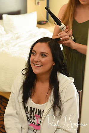 Nicole has her hair done prior to her September 2018 wedding ceremony at The Towers in Narragansett, Rhode Island.
