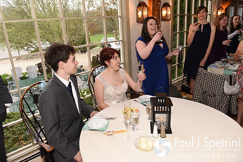 Ellen's maid of honor gives a toast during her and Jeremy's May 2016 wedding reception at Bittersweet Farm in Westport, Massachusetts.