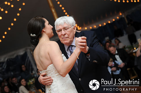 Caroline and her grandfather dance during her April wedding reception at the Fort Adams Trust in Newport, Rhode Island.