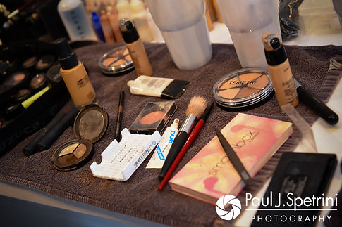 A look at the makeup products used by Melissa and her bridesmaids during their May 2017 bridal hair and makeup appointment at New Leaf Hair Studio in Bristol, Rhode Island.