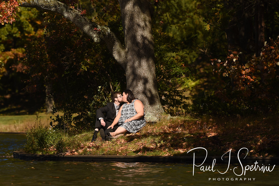Jill & Chris pose for a photo during their October 2018 engagement session at Roger Williams Park in Providence, Rhode Island.