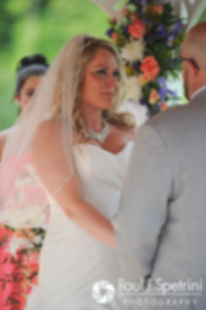 Michelle tears up during her May 2016 wedding at Hillside Country Club in Rehoboth, Massachusetts.