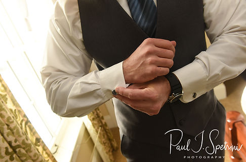 Kurt adjusts his shirt prior to his November 2018 wedding ceremony at the Publick House Historic Inn in Sturbridge, Massachusetts.