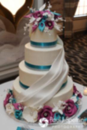 A look at the wedding cake at Angela and Shawn's spring 2016 Newport wedding at the Hotel Viking.