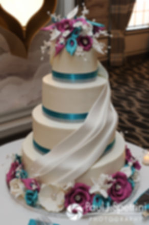 A look at the wedding cake at Angela and Shawn's spring 2016 Newport wedding at the Hotel Viking.