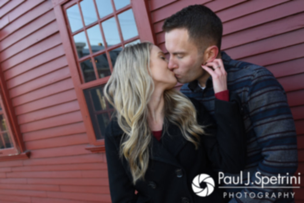Nicole and Kurt pose for a photo during their December 2017 engagement session in Newport, Rhode Island.