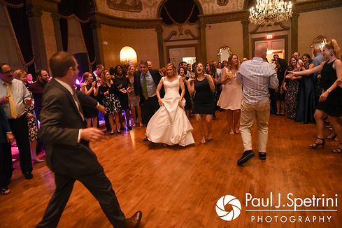 Guests dance during Tricia and Kevin's October 2017 wedding reception at the Providence Biltmore in Providence, Rhode Island.