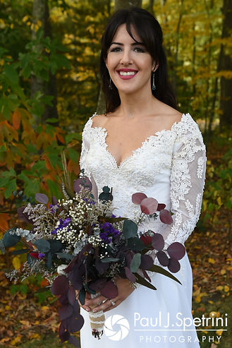 Samantha smiles prior to her October 2017 wedding ceremony at St. Robert's Church in Johnston, Rhode Island.
